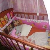Кроватка Наталка балдахин защита матрас