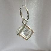 Новый родированый серебряный подвес кубик куб.цирконий Серебро 925 пробы