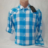 Распродажа! Мужская рубашка в клетку с длинным рукавом Junker. Разные цвета.