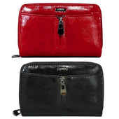 Женский кожаный кошелек 55025-CD (черный и красный)