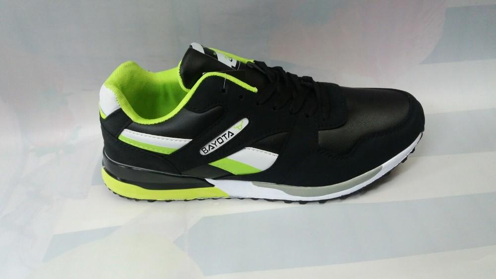 Мужские кроссовки 43-45р. черные с салатовым. фото №1