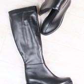Зимние женские сапоги-европейка, кожаные, на байке, на небольшом устойчивом каблуке