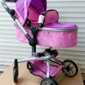 Коляска-трансформер для кукол Melogo 9695, фиолетово-розовая