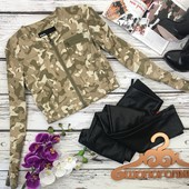 """Укороченная куртка расцветки """"хаки""""   OW3877"""