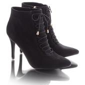 Элегантные замшевые женские ботинки на шпильке