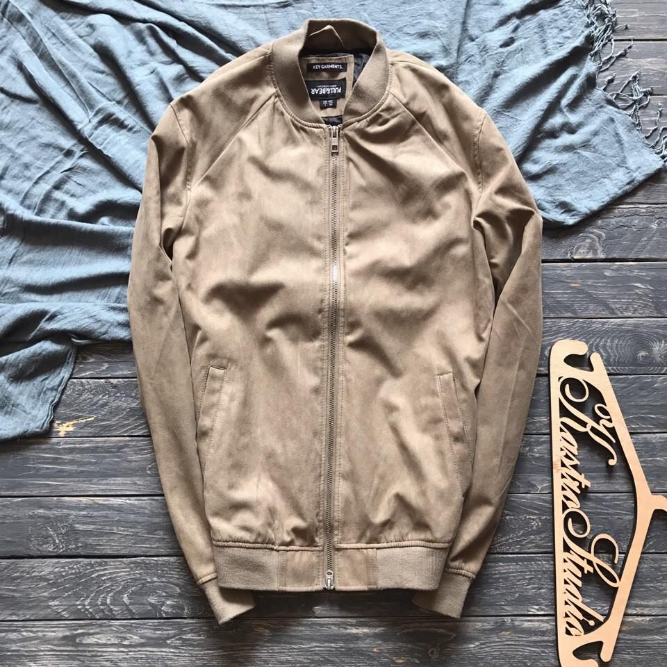 Стильный мужской бомбер куртка под замшу pull&bear р-р л фото №1