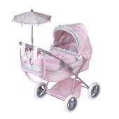 """Коляска для кукол """"Романтик"""" с сумкой и зонтом, розовая, 65 см, 85019"""
