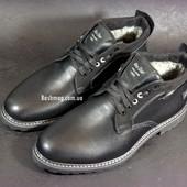 Стильные классические зимние мужские ботинки, лицевая кожа ,вставки замши Шикарны