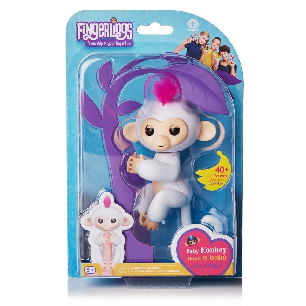 Wowwee fingerlings интерактивная ручная обезьянка софи белая interactive baby monkey - sophie фото №7