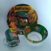 Детская посуда из стекла Барбоскины,3 предмета