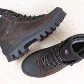 Мужские спортивные зимние ботинки, на меху, кожаные, черно-коричневые
