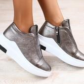 Женские высокие слипоны-полуботинки, кожаные, цвет - платина, на толстой подошве