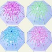 Зонт Весна прозрачная клеенка с цветочками CEL-003
