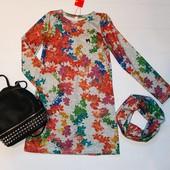 Теплое трикотажное платье туника ангора 128-152