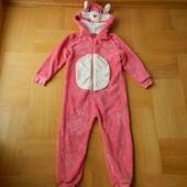 110 см Next розовая пантера кошка теплющий мягкий пушистый комбинезон человечек. Длина от плеча 95 с