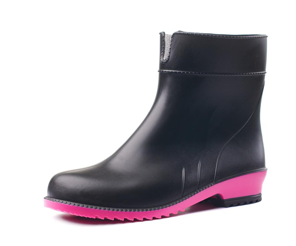 Резиновые сапоги женские черные с ярко-розовой подошвой сапоги резиновые литма litma 36-41 фото №1