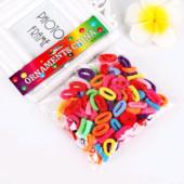 Набор детских маленьких резинок для волос - 100 шт, 7 цветов.