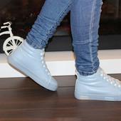 Ботинки зимние женские голубые С663