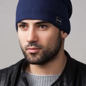Удлиненная мужская шапка на подкладке из микрофлиса, расцветки в наличии