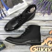Черные ботинки из плотной кожи  SH3996