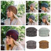 Женская теплая трехцветная шапка