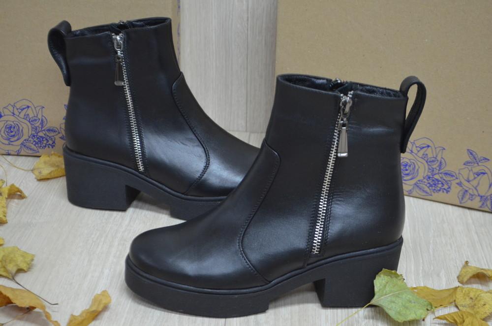 Кожаные демисезонные женские  ботинки фото №1