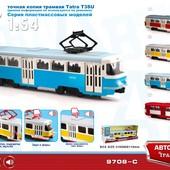 Трамвай инерционный 9708 откр. двери, свет, звук, модель Автопарк