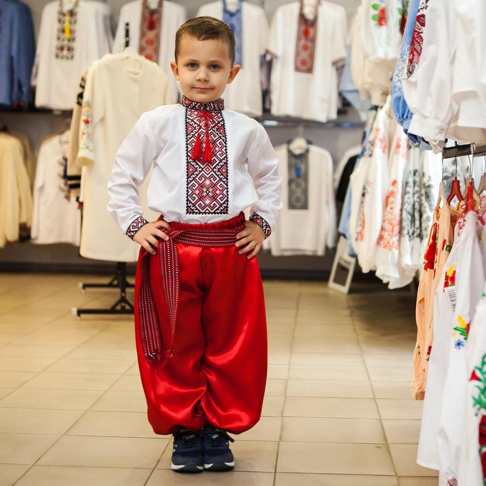 Шаровари червоні дитячі атласні (2 кольори) фото №1