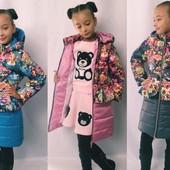 Пальто для девочки холодная осень Еврозима, разные расцветки