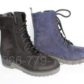 Женские зимние ботинки, натуральный нубук, 2 цвета