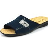 100-11L-004 , Тапочки мужские домашние Inblu Инблу , цвет - синий, стелька - пробка, размеры 40-46