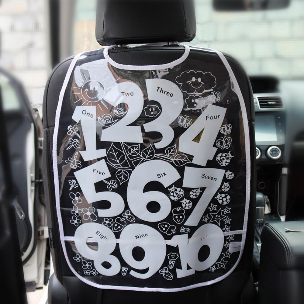 Защитный чехол на спинку сидения авто, белый. цифры. фото №1