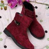 Последний размер! Стильные женские замшевые ботинки бордового цвета