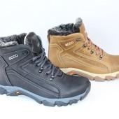 Кожаные зимние ботинки, натуральный мех, 2 цвета