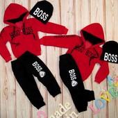 2 цвета Мега-теплый костюм 86-128см тринить с начесом для мальчика и девочки спортивный теплый