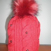 Шапка вязаная для девочки с помпоном, Agbo (Польша), подкладка флис