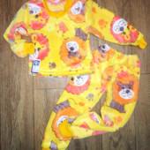 Махровая детская пижамка львенок.