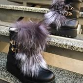 Ботинки кожа мех чернобурка ,зима 36-41