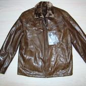Мужская зимняя куртка кожаная с натуральным мехом Турция размер 48