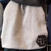 Трикотажные  двойные  шапочки в Philip Plein  и хомут в ассортименте от производителя