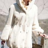Шуба белая молочная Donna Salyers Fabulous furs Сша качество под норку бобра мутон свадебная
