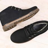 Ботинки мужские, зимние, из натурального нубука, черные, на шнурках, на меху