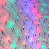 Гирлянда ламповая Сетка, 200 ламп (LED) чёрный провод, микс