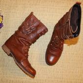 37 24,5см Кожаные сапоги ботинки на шнуровке