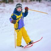 Лыжи синие и красные с палками детские Технок 3350 зимний ассортимент
