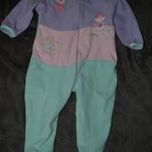флисовый слип пижама человечек Early days 12-18 мес без дефектов!