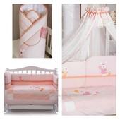 Комплект постельного белья набор постели в кроватку  Feretti lapin pink 6ед. плюс балдахин конверт