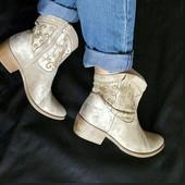 Замша,Кожа!Новые Франция san marina Оригинал серебристые ботинки,сапоги,козачки 40р