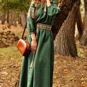 Платье макси с вышивкой