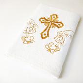Крыжма Lotus вышивка - Белое с золотом 70*140 400гр